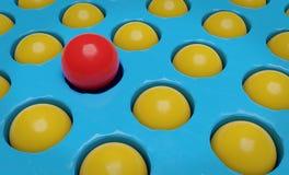 Één rode bal en velen het gele ballen 3d teruggeven royalty-vrije stock afbeelding