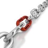 Één rode link in een chroomketting Stock Foto