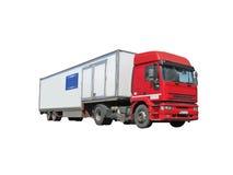 één rode van de diesel zware de brandstofvrachtwagen ladingsvrachtwagen Royalty-vrije Stock Afbeeldingen