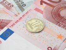 Één roebelmuntstuk van de euro bankbiljetten Royalty-vrije Stock Fotografie