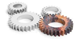 Één roestig toestel en drie zilveren die tandraderen op witte achtergrond wordt geïsoleerd 3D Illustratie stock illustratie