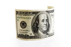 Één rolde honderd dollarsrekening Royalty-vrije Stock Foto's