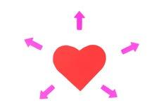 Één rood document hart met vele pijlen, conceptenverhoudingen Royalty-vrije Stock Foto's