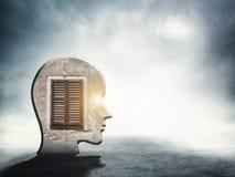 Één silhouet van menselijk hoofd met binnen venster Royalty-vrije Stock Foto