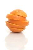 Één sneed sinaasappel Stock Fotografie