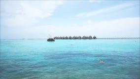 Één solo mannelijke reiziger die in het blauwe oceaanwater van de Maldiven zwemmen stock video