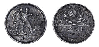 Één Sovjet zilveren roebel Royalty-vrije Stock Fotografie