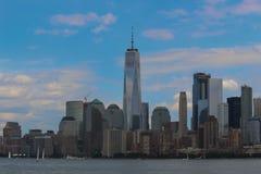 Één Stad Sklyine van New York van de World Trade Centertoren Stock Afbeelding