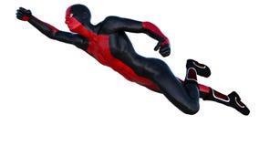 Één superhero in zwart en rood latex Vliegen met een kant van de camera Royalty-vrije Stock Fotografie