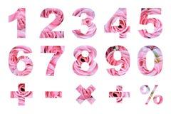 Één tot nul aantallen en fundamentele wiskundige symbolen Royalty-vrije Stock Foto