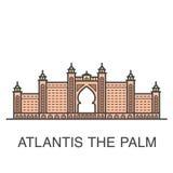 Één van beroemde de toevluchthotel gekleurde illustratie van Doubai - Atlantis de Palm vector illustratie