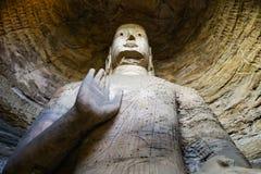 Één van de grotere standbeelden in Yungang Royalty-vrije Stock Fotografie