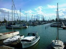 Één van de havens in Hoorn, Holland, Nederland royalty-vrije stock foto