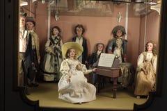 Één van de marionetten` s vertoning in Palazzo Borromeo Stock Afbeeldingen