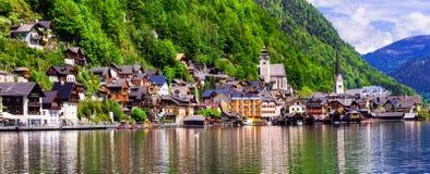 Één van de mooiste Alpiene dorpen Hallstat in Oostenrijk royalty-vrije stock afbeelding