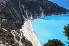 Één van de mooiste stranden in het Ionische Overzees stock afbeeldingen