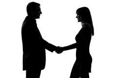 Één van de paarman en vrouw handdruk Stock Foto