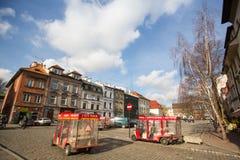 Één van de straten in historisch centrum van Krakau Stock Foto