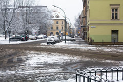Één van de straten van Kazimierz-kwart, is een historisch district van Krakau Royalty-vrije Stock Foto's
