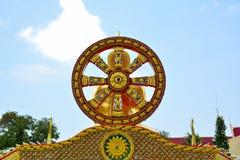Één van de symbolen van Boeddhisme Wiel Pattaya Thailand royalty-vrije stock afbeelding