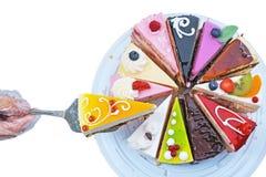Één van de twaalf stukken van cake Stock Afbeelding