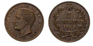 Één van het het Kopermuntstuk 1903 van 1 centlires Koninkrijk van de Waardeumberto I van Italië Royalty-vrije Stock Foto's