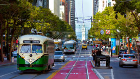 Één van trams met twee uiteinden van PCC van San Francisco de originele,  Stock Foto