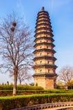 Één van Tweelingen het pagode-oude oriëntatiepunt van de stad van Tai-Yuan stock foto