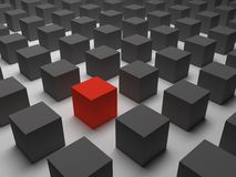 Één verschillende rode kubus Royalty-vrije Stock Foto