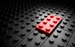 Één verschillende rode stuk speelgoed baksteen individualiteit conceipt 3D renderin Royalty-vrije Stock Foto