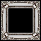 één vierkant grijs en zilveren houten die kader op zwarte wordt geïsoleerd Stock Fotografie