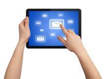 Één vinger raakt e-mailsymbool Stock Fotografie