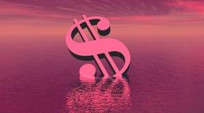 Één violette dollar die in het overzees verdrinkt vector illustratie