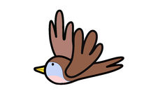 Één vogel op witte achtergrond Royalty-vrije Stock Afbeelding