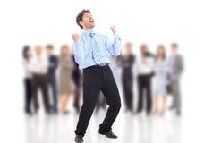 Één zeer gelukkige energieke zakenman stock foto's