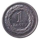 Één zloty die muntstuk op wit wordt geïsoleerd Royalty-vrije Stock Foto