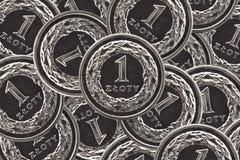 Één zloty muntstukachtergrond Stock Foto's