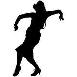 Één zwart silhouet van vrouwelijke flamencodanser Royalty-vrije Stock Foto's