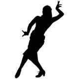 Één zwart silhouet van vrouwelijke flamencodanser Stock Afbeeldingen
