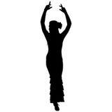 Één zwart silhouet van vrouwelijke flamencodanser Royalty-vrije Stock Afbeeldingen