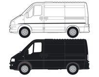 Één zwarte en één witte bestelwagen Royalty-vrije Stock Foto
