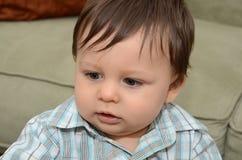 1 éénjarige van de Babyjongen de uitdrukkings Royalty-vrije Stock Fotografie