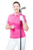 30 éénjarigenmeisje met het materiaal voor het spel van golf Royalty-vrije Stock Fotografie