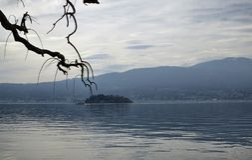 韦尔巴尼亚,山麓,意大利 2019年3月 湖边平地 库存照片