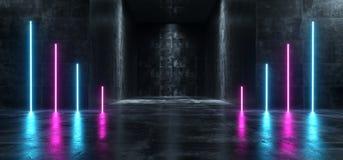 霓虹发光的激光带领了充满活力的未来派在难看的东西具体黑暗的空的霍尔的科学幻想小说现代减速火箭的紫色蓝色紫外光 皇族释放例证