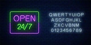 霓虹开放24个小时每星期七天签到与字母表的长方形形状 日以继夜运作的酒吧 库存例证