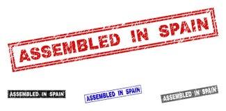 难看的东西在西班牙聚集抓了长方形邮票 库存例证