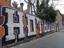 都市街道画在郊区 免版税库存照片