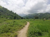 阿布拉省de Ilog,民都洛的农村部分的热带多小山乡下 免版税库存照片