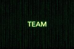 队,混乱主题词,在绿色矩阵背景 向量例证